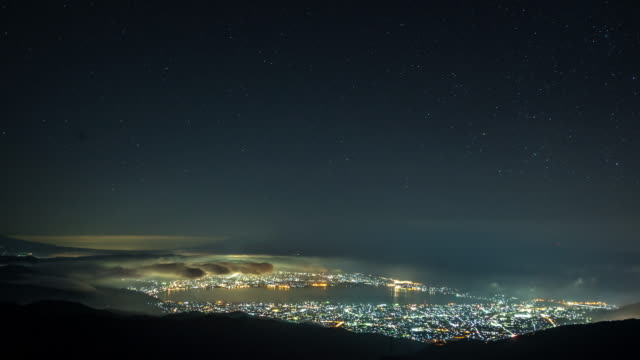 Time-lapse: star trail from suwa lake from Takabochi nagano Japan