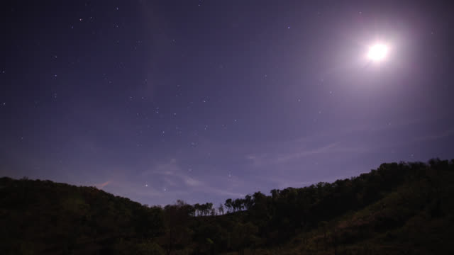 Timelapse stars and moon shift over rainforested hills, Salu, Myanmar