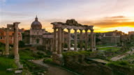 Time-Lapse, Sunrise above Ancient Ruins of Roman Forum in Rome, Italy