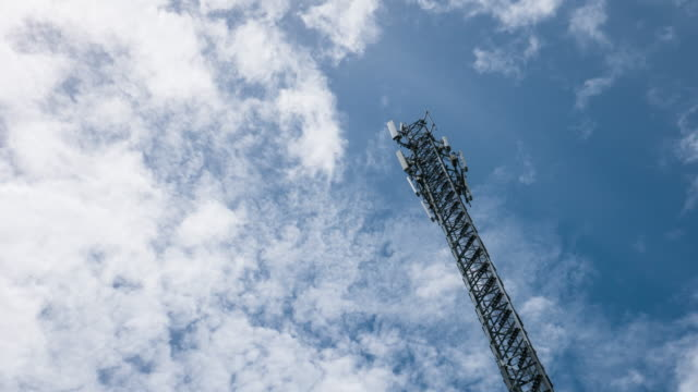 Timelapse: Telecommunication tower against blue sky