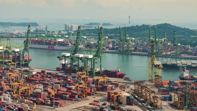 4K time-lapse: The Port of Singapore Warehouse is working import export