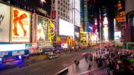 HD time-lapse: Times Square New York City Raining at night