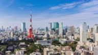 Timelapse tokyo tower at clear sky day
