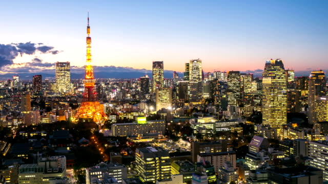HD Time-lapse: Tokyo tower at dusk
