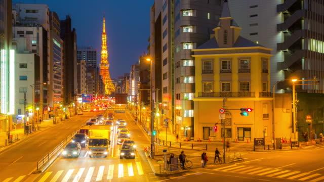 4 K Time-lapse: Tokyo tower Japan i skymningen