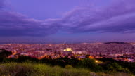 Timelapse top view of City of Barcelona day to night  transition