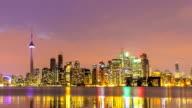 Time-lapse in HD: Cityscapeat tramonto sullo Skyline di Toronto Canada