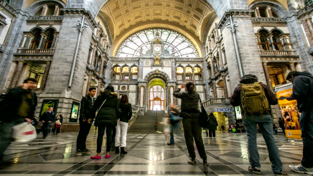 HD time-lapse: Tourist pedestrian travelling at Antwerp Central Station Belgium