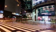 HD Time-lapse : Traffic and Pedestrians Crossing Street Osaka, Japan.