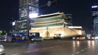 time-lapse traffic at Namdaemun Gate in Seoul