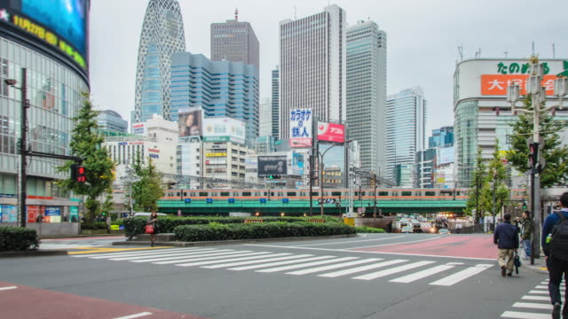 4 K Time-lapse: verkeer in Shinjuku district in Tokio, Japan
