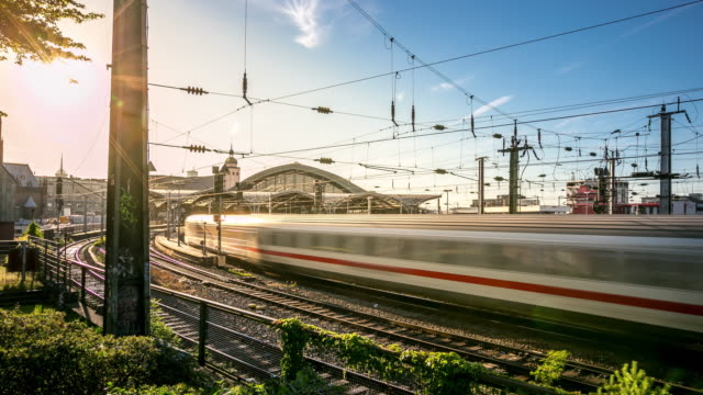 4K Time-lapse: Train approaching to Hauptbahnhof central train station Germany
