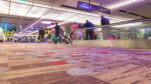 Time-Lapse: Traveler at Airport Departure area in international terminal