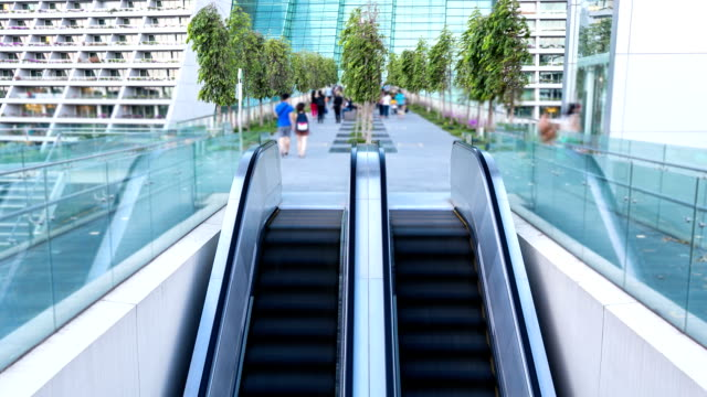HD Time-lapse: Traveler at Escalator Pedestrian Bridge