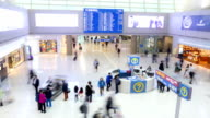 HD Time-lapse: Traveler Crowd at Airport Departure Hall Incheon