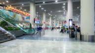 Time-Lapse: Traveler Crowd at Airport departure Hall Macau China