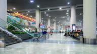 Time-Lapse: Traveler Crowd at Airport departure Hall Macau, China