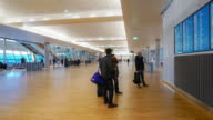 Time-lapse Traveler Crowd at Airport departure hall Oslo Norway