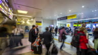 4K Time-lapse: Traveller crowded at Hiroshima railway station