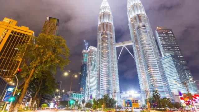 4K Timelapse: Twin towers in Kuala lumpur city.