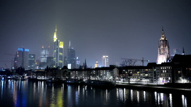 Timelapse video of Frankfurt, Germany, at night