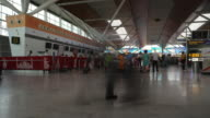 Time-lapse view of inside the newly built domestic departure terminal building of the busy IGI airport, New Delhi, India