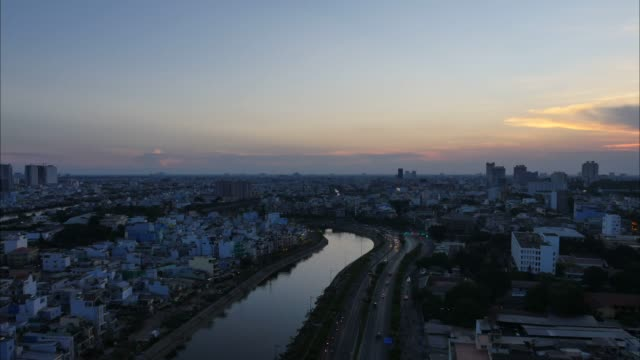 Timelapse view over Ho Chi Minh City aerial view Vo Van Kiet Avenue