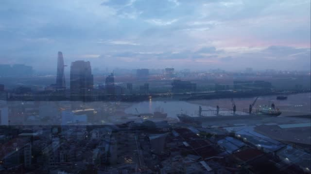 Timelapse view over Ho Chi Minh City sunrise morning