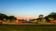Time-lapse in HD: Monumento di Washington DC negli Stati Uniti al crepuscolo