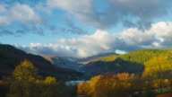 Time-Lapse Wide shot of Moel Siabod with gentle pan and vigorous cloud movement