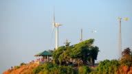 Timelapse wind turbine at viewpoint