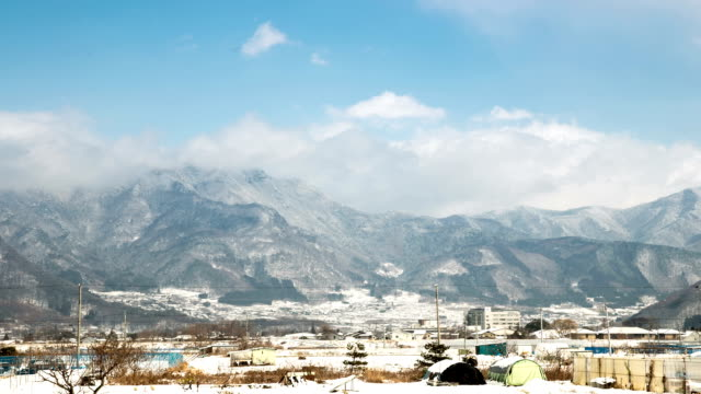 HD Time-lapse: Winter landscape of Japan Alps Nagano