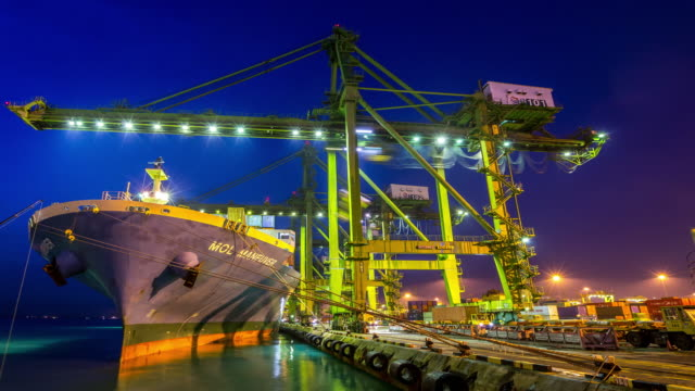 4K time-lapse: Working at Singapore Shipyard Port Terminal morning twilight