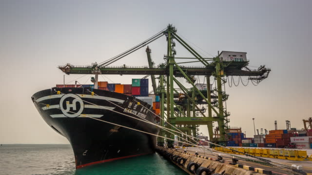 4 K Zeitraffer : Arbeiten in Singapur Werft Hafen