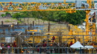 4K Time-lapse: Working in Construction Site with labors