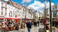 HD Time-lapse zoom: City Pedestrian Meir shopping street Antwerp Belgium