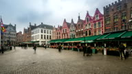 HD time-lapse zoom: Historic Building at Market square Bruges Belgium