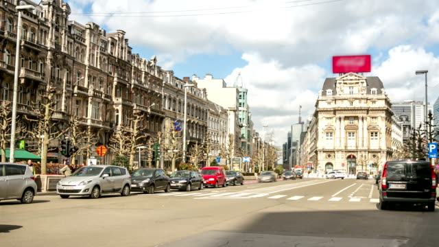HD Time-lapse Zoom out: City Pedestrian in Brussels Belgium