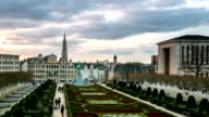 HD Time-lapse zoom: Pedestrian Brussels Grand Place garden Belgium sunset