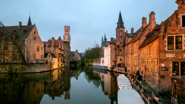 HD time-lapse zoom-out: Bruges Historic old town and Canal Belgium sunset
