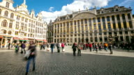 HD Time-lapse zoom-out: City Pedestrian at Grand Place Brussels Belgium