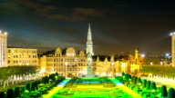 HD Time-lapse Zoom-out: Pedestrian Brussels Grand Place garden Belgium sunset