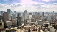 HD Time-lapse:Aerial Osaka Cityscape in action