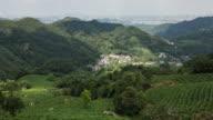 4K Time-lapse:Clouds over tea plantation on hillside,Hangzhou,China