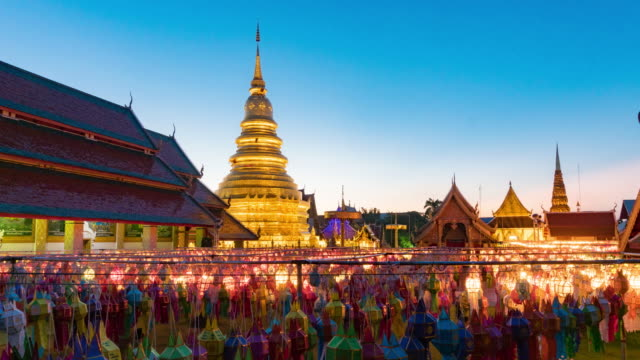 Time-lapse:Colorful paper lantern in Loi Krathong, Thailand.