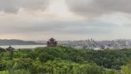 4K Time-lapse:Hangzhou skyline with stormy clouds,China