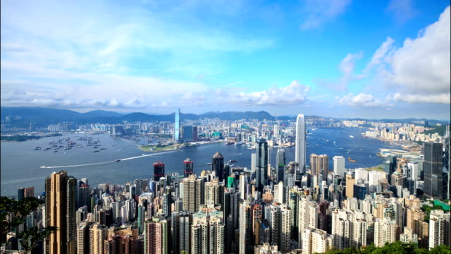 HD Time-lapse:Hongkong of from Victoria peak