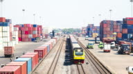 Timelapse:Logistics operation in railroad container yard in Asia.