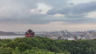4K Time-lapse:Rain passing over the Chenghuang Pagoda with downtown skyline,Hangzhou,China