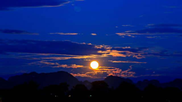Timelapse:Rising moon.(zoom out)